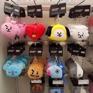 【Korea Buying Service】BTS Line Friends x BT21 Plush Mirror Key Charm