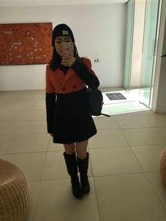 Colour block trench coat (orange/black)