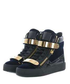 Giuseppe Zanotti Velvet Double-Bar High-Top Sneaker