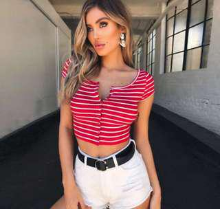 Red and white button up crop top