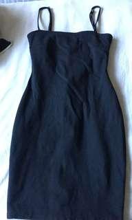 Ninnie black bodycon dress LBD mini 90s style size xs