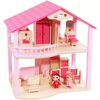 (Free Delivery+Ready Stock) Wooden Doll House Dollhouse with Mini Dolls Furnitures & Accessories Toy Set