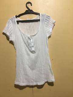 Clearance Sale!!H&M Tie Front White Top