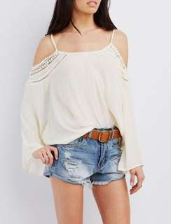 Charlotte Russe Crochet Trip Cold Shoulder Top
