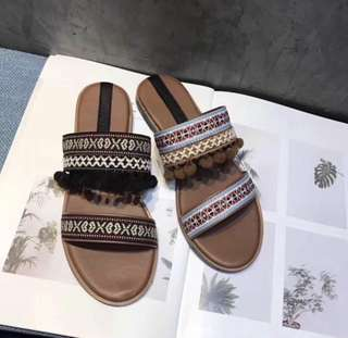 韓國 民俗流蘇拖鞋 (黑39)