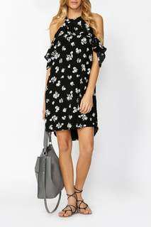 Decjuba Gianna High Neck Ruffle Dress - BLACK SHADOW FLORAL Size 8