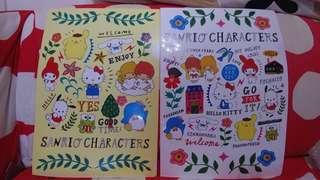 Purin Little Twin Stars Hello Kitty Sam Keroppi Melody Cinnamonroll Pochacco Sanrio file folder 1套2個