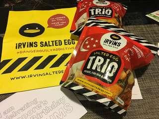 新加坡代購Irvin's salted egg trio ( 一包有齊木薯/魚皮/薯仔 薯片)