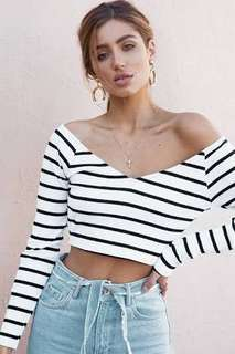 Sabo skirt white long sleeve stripe off shoulder crop