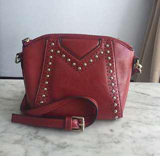 BARELY USED classy Topshop red leather bag - off the shoulder - studded - satchel style - clutch ❤️