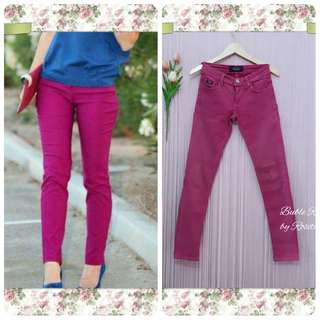 Celana Jeans Skinny Socking Pink Hot Pink Fushia Merah Muda Tua Celana Bekas Preloved Pribadi Bekas Berkualitas Celana Chino Cotton Katun Denim Jeans Bahan Kain