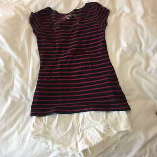 Classic Navy and Red Striped Tee (H&M)