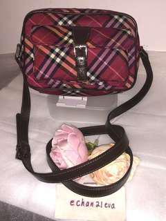 【Beautiful】Auth BURBERRY LONDON BLUE LABEL Dark Red Nova Check Shoulder Bag