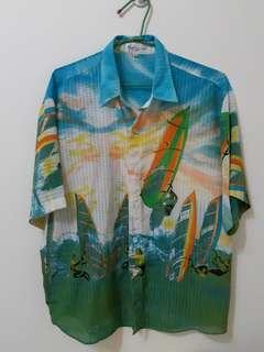🚚 衝浪圖案麻紗襯衫