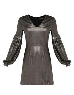 V Neck Dress with Balloon Sleeves
