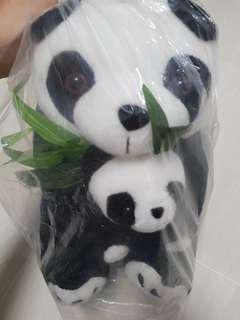 Panda plushie with baby panda