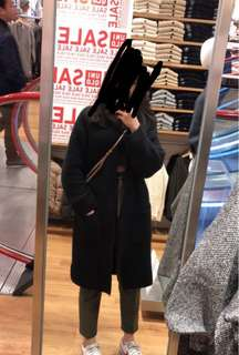 Uniqlo black wool long cardigan