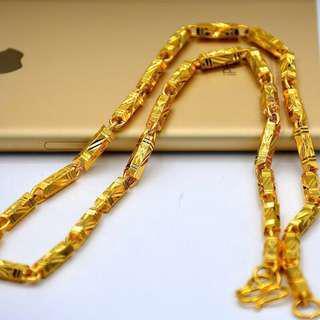 🚚 💗沙金項鍊男歐幣金飾品K黄金色鍍金持久不掉色 沙金項鍊🎁