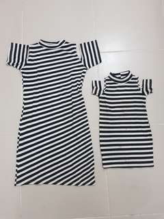 M&D matchy matchy dress twinning stripes white black mother and daughter