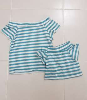 M&D twinning top stripes matchy matchy off shoulders blue white