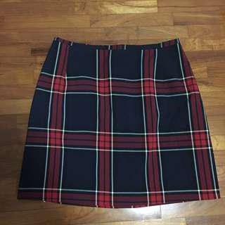New Look Checkered Print A-Line Skirt