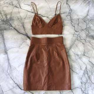 Brown faux leather two piece set 6