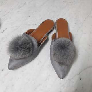Fur Mules Grey Selop NETT