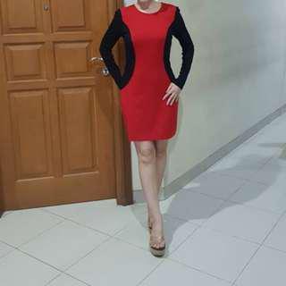 RED BLACK OPTICAL ILLUSION DRESS