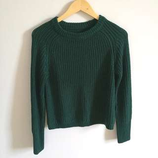 American Apparel Forest Green Fisherman Knit Sweater