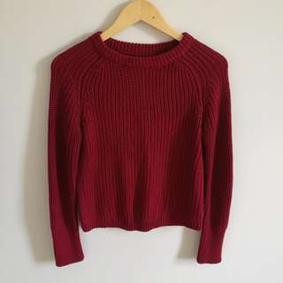 American Apparel Burgundy Fisherman Knit Sweater