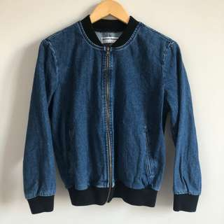 American Apparel Indigo Angeleno Denim Bomber Jacket