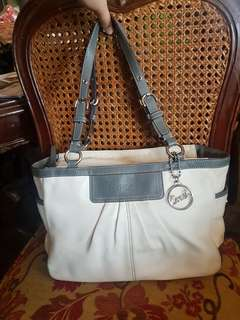 Authentic Coach Pleated EastWest Gallery Leather Tote