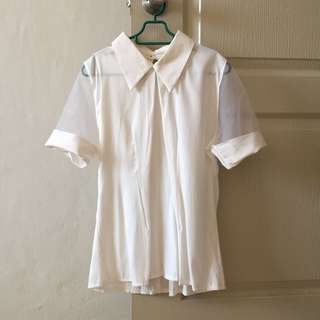 White Blouse with Organza Sleeves #Android100