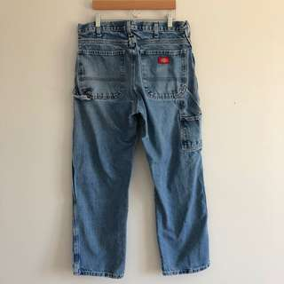Dickies High-Rise Mid Wash Carpenter Cargo Denim Jeans