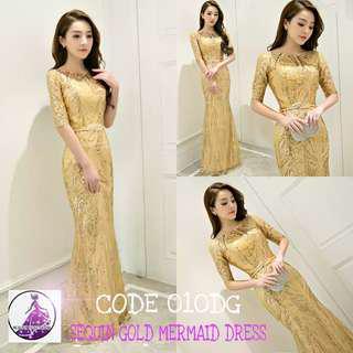 ( RENT RM30) Sequin gold mermaid dress