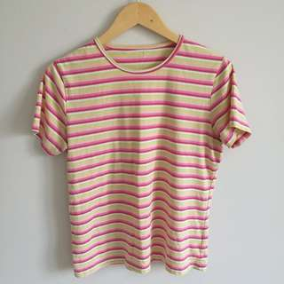 Pastel Pink/Yellow Striped Top