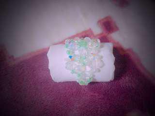小粉綠手作珠串戒指