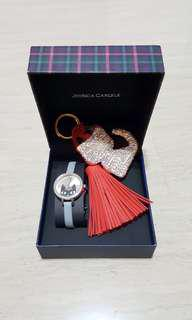 BNIB Jessica Carlyle Ladies Meow Cat Watch & Bag Charm with Checkered Box