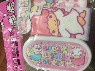 Little twin star 正版Sanrio 毛巾盒連兩條紗布綿小毛巾set 開學最啱$45