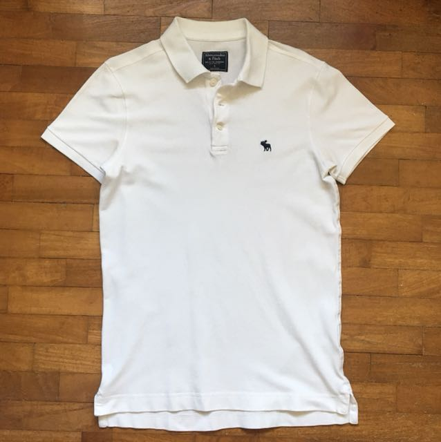 88f47264 Abercrombie & Fitch White Polo Shirt, Men's Fashion, Clothes on ...