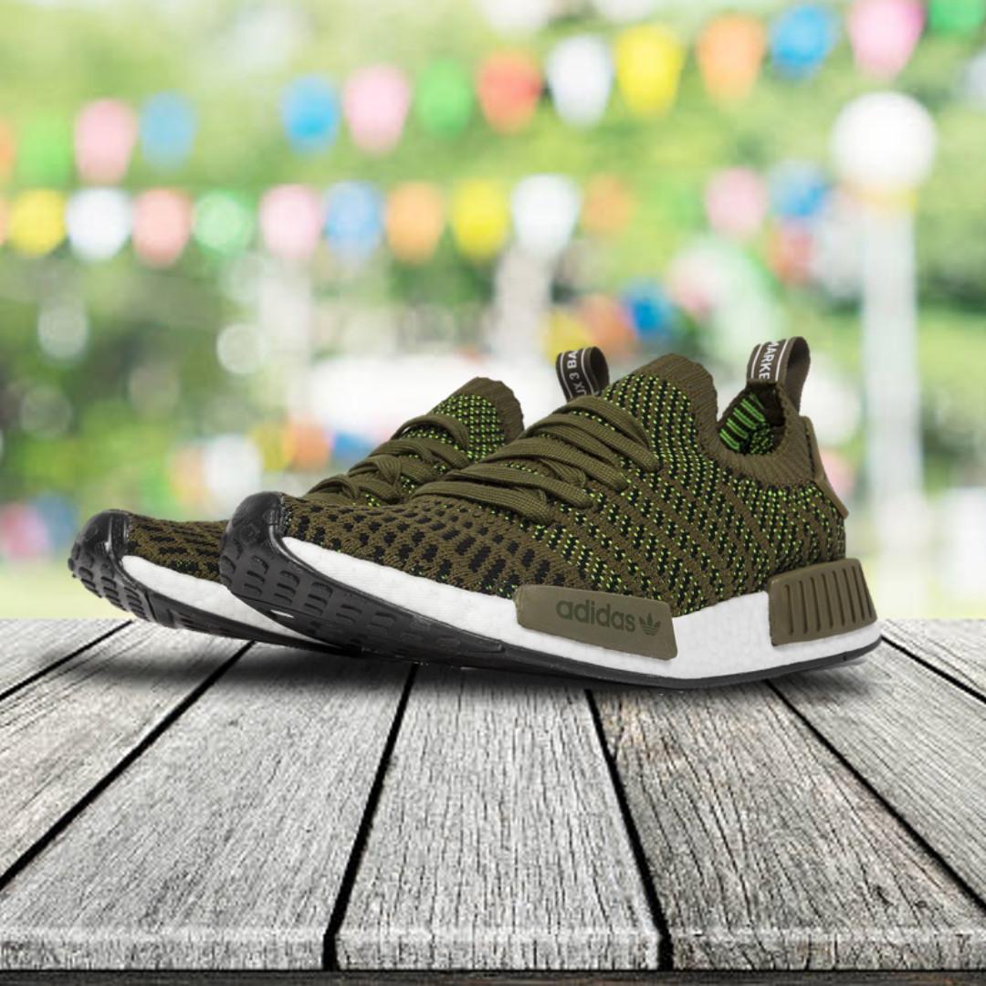 Adidas nmd R1 STLT primeknit olive green, Men's Fashion, Footwear