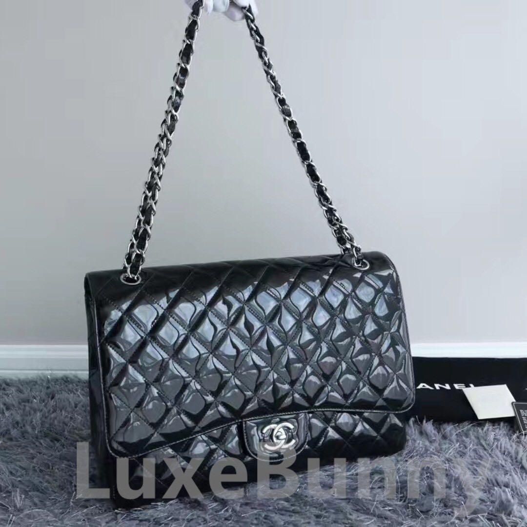 119cde0465ed Authentic Chanel Classic Single Flap Quilted Patent Maxi