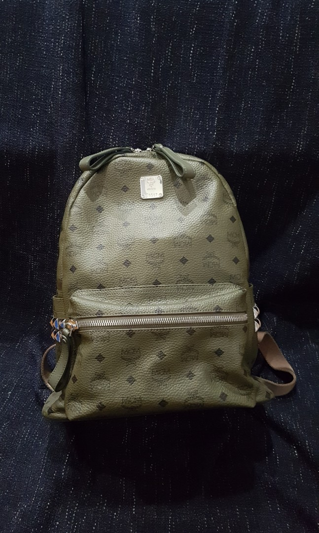 628fd8b50c40 💯Authentic MCM Stark Dark Green Studded Medium Backpack