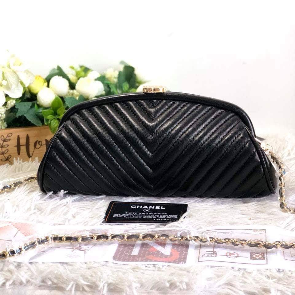 83a7e363ddf1 Chanel Lambskin Chevron Quilted Timeless Clutch and Shoulder Bag in ...