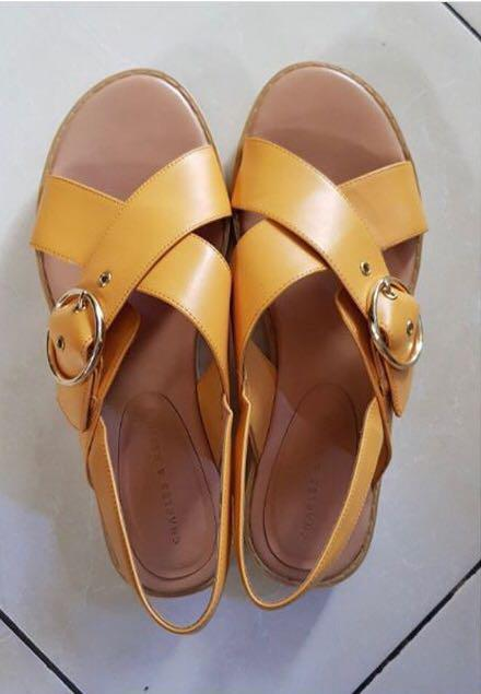 Charles and Keith Mustard Sandals (worn once) - size 7