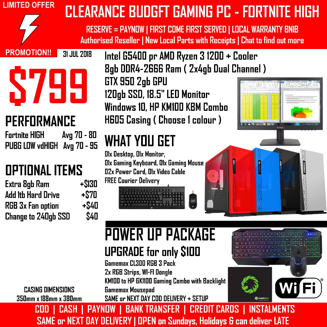 CLEARANCE BUDGET H605 Gaming PC FORTNITE HIGH Intel G5400 AMD Ryzen 1200  GTX 950