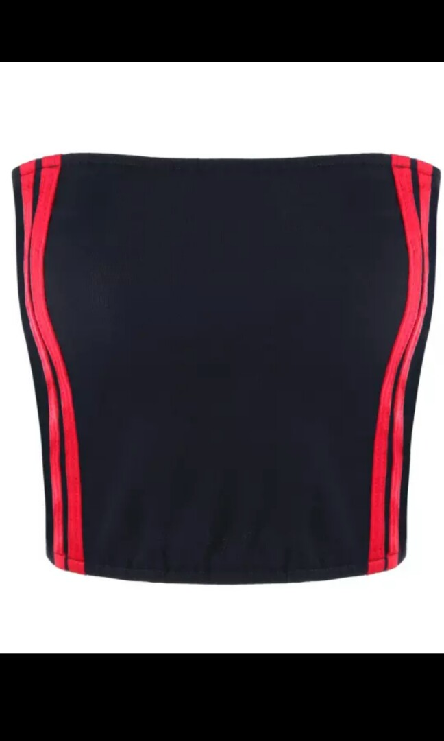 8e0e1b6c87 Crop Boob Tube Stripes Red Black White