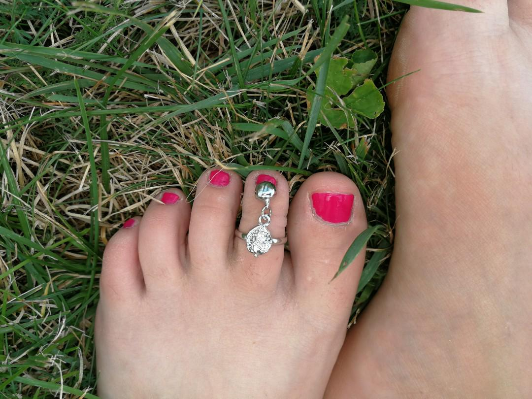 Cute Silver Toe Rings with Bells Strawberry Hand Apple