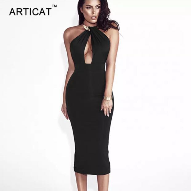 8de0f7999553 Formal Long Backless pencil bandage prom dress with gold statement ...