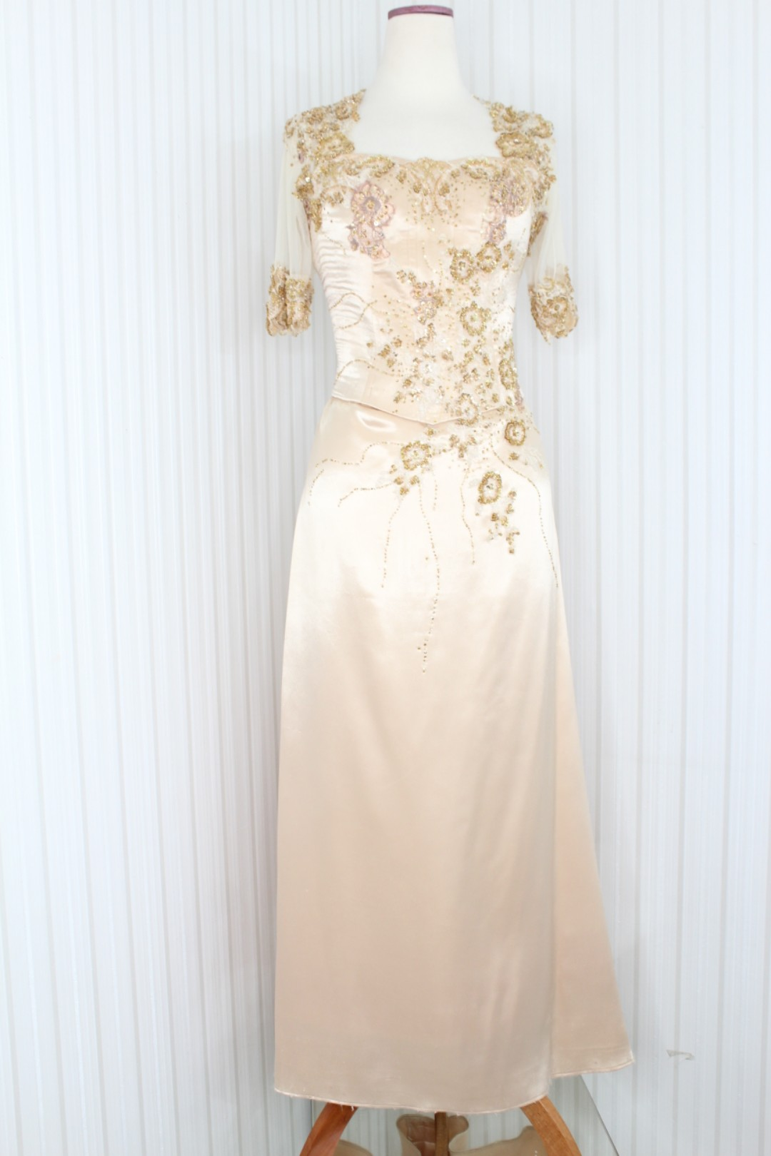 Gaun Pesta Gaun Malam Long Dress Warna Gold 6505 Olshop Fashion